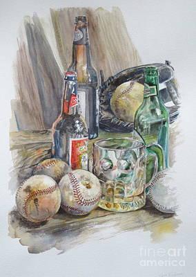 Baseball And Beer Art Print by Karen Boudreaux
