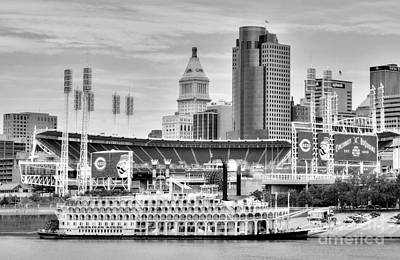 Photograph - Baseball And Boats In Cincinnati Black And White by Mel Steinhauer