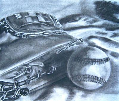 Baseball Mitt Drawing - Baseball by Ashlee Terras