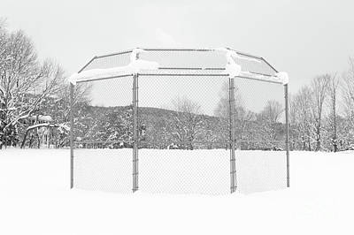 Photograph - Baseball Backstop In The Snow by Edward Fielding