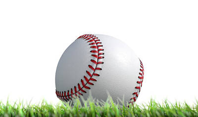 Baseball Ball Resting On Grass Art Print