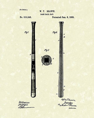 Bat Drawing - Baseball Bat 1885 Patent Art by Prior Art Design