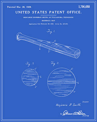 Baseball Bat Patent - Blueprint Art Print