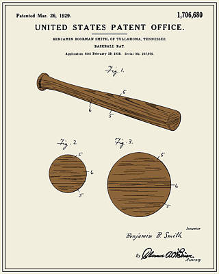 Baseball Bat Patent - Colour Art Print