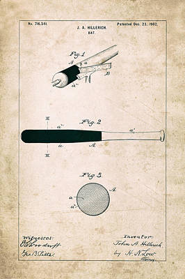 Baseball Bat Photograph - Baseball Bat - Patent Drawing For The 1902 John Hillerich Basebal Bat by Jose Elias - Sofia Pereira