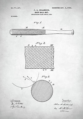 Mickey Mantle Digital Art - Baseball Bat Patent by Taylan Apukovska