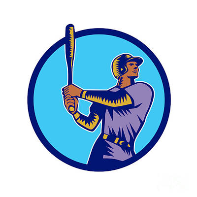 Baseball Batter Batting Bat Circle Woodcut Art Print by Aloysius Patrimonio