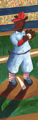 Bosox Painting - Baseball Bear by Kristy Lankford