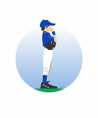 Outfielder Painting - Baseball Blue Boy by Jerry Watkins