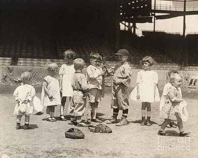 Baseball: Boys And Girls Art Print by Granger