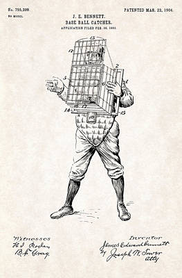Baseball Photograph - Baseball Catcher Cage - Patent Drawing For The 1904 James Edward Bennett Catcher Cage by Jose Elias - Sofia Pereira