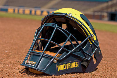 Photograph - Baseball Catcher Helmet by Michigan Helmet