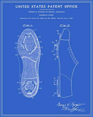 Baseball Cleat Patent - Blueprint Art Print