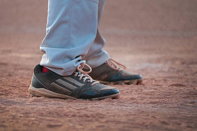 Baseball Photograph - Baseball Cleats In The Dirt by Kelly Hazel