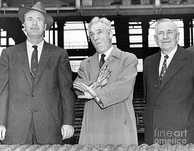Casey Stengel Photograph - Baseball Commissioner, Ford Frick, Signs No Game 1958 by Anthony Calvacca