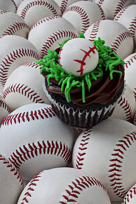 Baseball Art Photograph - Baseball Cupcake by Garry Gay