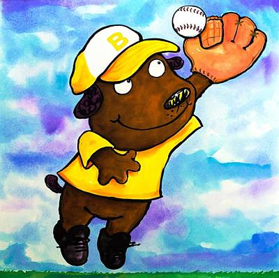 3rd Base Painting - Baseball Dog 4 by Scott Nelson