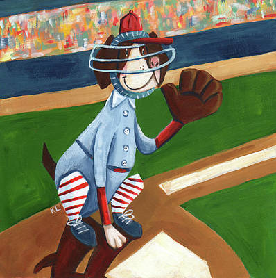 Bosox Painting - Baseball Dog by Kristy Lankford