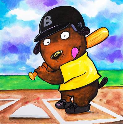 3rd Base Painting - Baseball Dog by Scott Nelson