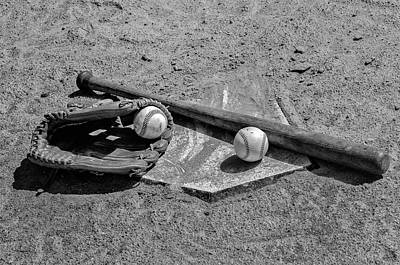Homeplate Photograph - Baseball Game In Black And White by Bill Cannon