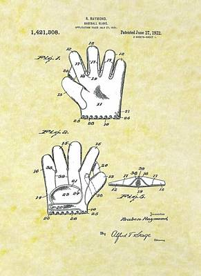 Drawing - Baseball Glove 1921 Patent by Movie Poster Prints