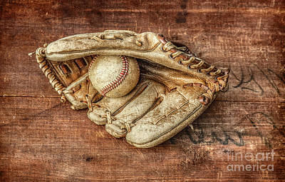 Baseball Royalty-Free and Rights-Managed Images - Baseball Glove and BaseBall on Wood by Randy Steele