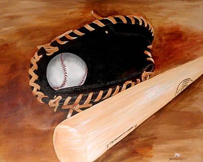 Baseball Glove And Bat Original
