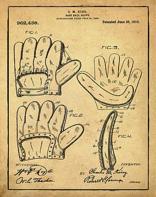 Baseball Photograph - Baseball Glove Patent 1910 Sepia With Border by Bill Cannon