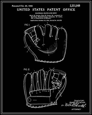 Baseball And Gloves Digital Art - Baseball Glove Patent - Black by Finlay McNevin