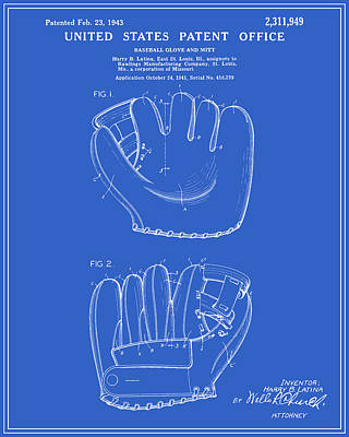 Mitts Digital Art - Baseball Glove Patent - Blueprint by Finlay McNevin