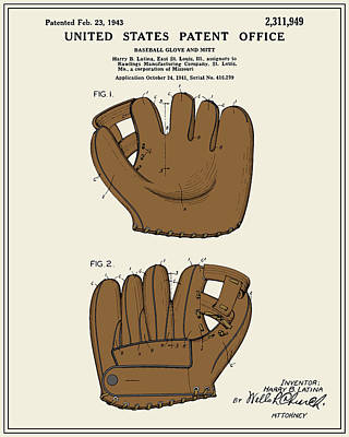 Mitts Digital Art - Baseball Glove Patent - Colour by Finlay McNevin