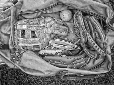 White Glove Mixed Media - Baseball Gloves Bw by Thomas Woolworth