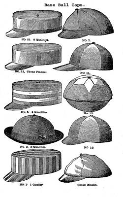 Drawing - Baseball Hats  by Vintage Pix