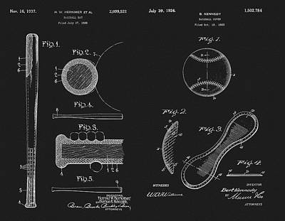 Mixed Media - Baseball History Patent by Dan Sproul