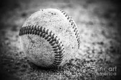 Baseball In Black And White Art Print