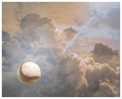 Baseball In Clouds Original by Lance Rann
