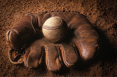 Baseball In Glove Art Print by John Wong
