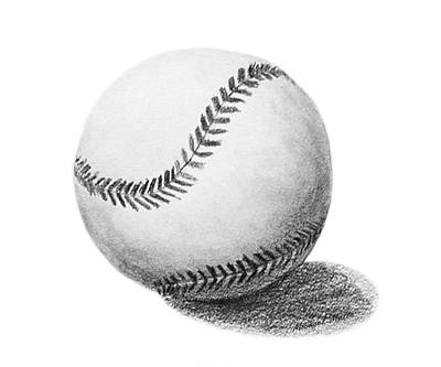 Still Life Drawings - Baseball by Michael Malta