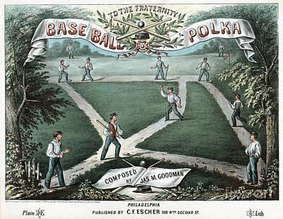 Drawing - Baseball, Music Sheet, 1867.  by Granger