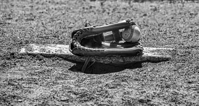 Baseball And Gloves Digital Art - Baseball - On The Pitchers Mound In Black And White by Bill Cannon