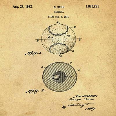 Baseball Photograph - Baseball Patent 1832 In Sepia by Bill Cannon