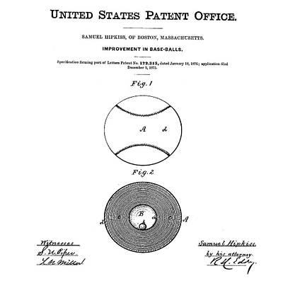 Baseball Patent 1876  Art Print by Bill Cannon