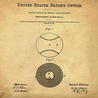 1876 Digital Art - Baseball Patent 1876 In Sepia by Bill Cannon