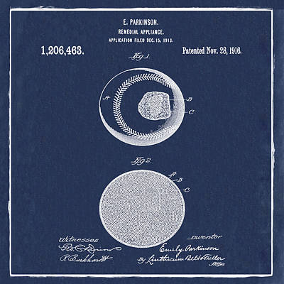 Sepia Chalk Photograph - Baseball Patent 1916 Blue by Bill Cannon