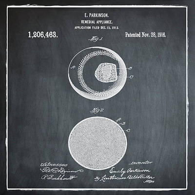 Baseball Patent 1916 Chalk Art Print by Bill Cannon