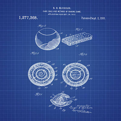 Sepia Chalk Digital Art - Baseball Patent 1918 In Blueprint by Bill Cannon