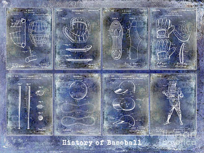 Baseball Patent History Blue Art Print by Jon Neidert