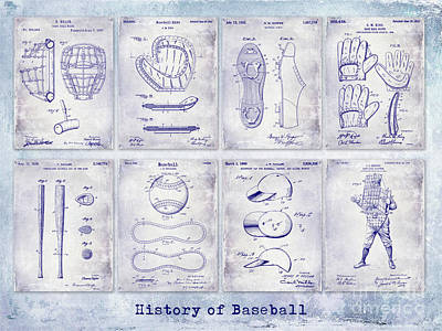 Baseball Patent History Blueprint Art Print by Jon Neidert