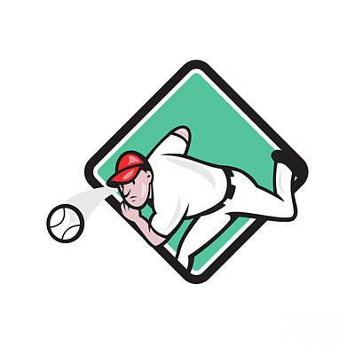 Outfielder Digital Art - Baseball Pitcher Outfielder Throw Ball Diamond Cartoon by Aloysius Patrimonio