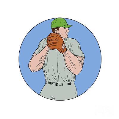 Baseball Pitcher Starting To Throw Ball Circle Drawing Art Print